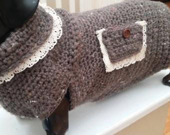 Doxie winter sweater,  hand made. Unique design.