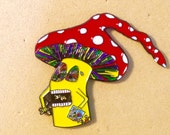 Mushroom eating people hat pin, hippie, shrooms, psychedelic, trippy, dead lot, phish, grateful dead, pins