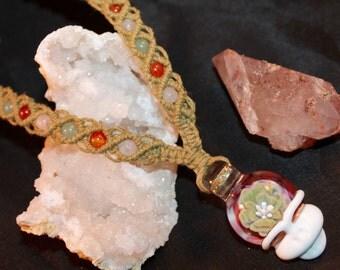 Grateful Dead inspired hemp necklace with stone beads, macrame, micromacrame, hippie, music festivals, stealie, handblown glass, deadhead