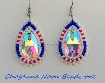Native American Beaded Earrings - Teardrop Crystal - Navy, White, & Red