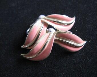 Vintage 60s CORO Earrings Peach Enamel Gold Tone Leaf 60s Clip On Earrings