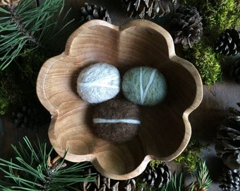 Felt pebbles, set of 3, Light Grey, Pastel Green Heather, and Dark Brown, wool river rocks, natural waldorf centerpiece, brown felt stone