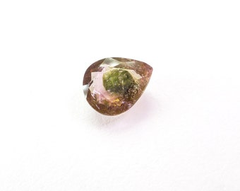 Bicolor Natural Tourmaline. No Treatments. Native Cut. Set Table Up or Down. Pear Shape. 1 pc. 1.68 cts. 7x9x4 mm  (TM2380)