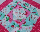 Retro Quilted Table Topper, Quilted Table Topper, Cottage Shabby Chic, Retro Florals by Michael Miller Fabrics