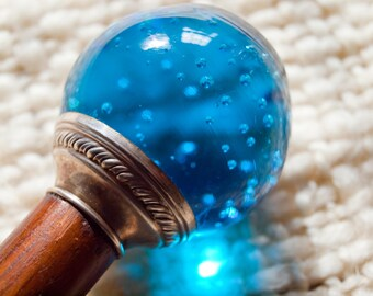 Antique Walking Stick, Blue Glass Ball with Silver Cap