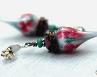 Strawberry ice cream - delicious, short, unique earrings with handmade lampwork glass headpins and sterling silver