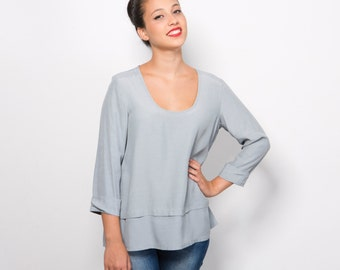 Blue scoop neck blouse, women oversize shirt, pastel blue top, loose fit blouse, long sleeve blouse, Casual style top, floors top, sale