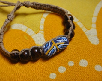 African Glass and  Wood Bead Hemp Bracelet / Anklet