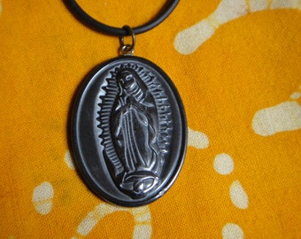 Our Lady of Guadalupe Necklace Carved Hematite Virgin Mary Stone Pendant