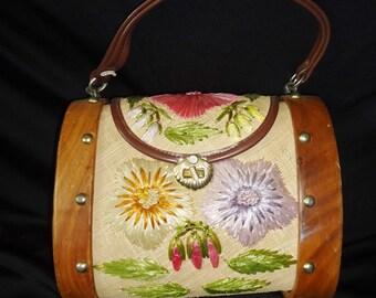 Straw Pastel Flowers BARREL Vintage 1950's Women's Woven Handbag Purse