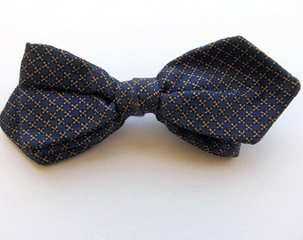 Vintage 60's Bowtie Clip On Tie Blue Checked Print Wembley