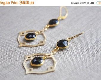 SALE Onyx Earrings, Black Onyx Earrings, Black Earrings, Black Diamond Earrings, Diamond Earrings, Black and Gold Earrings, Long Earrings, B