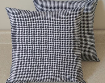 Set of 2 Black white Houndstooth pillow covers shams  Alabama University Crimson tide 18x18 throw cushions