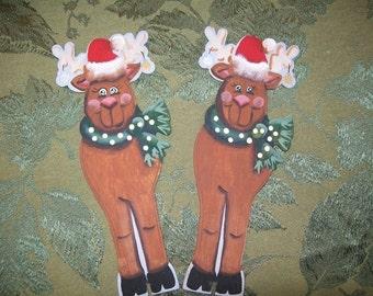 Reindeer hand painted free standing