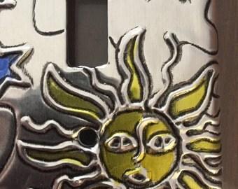 Sun  Moon Stars Blue Silver Metal Single Switch plate light switch plate