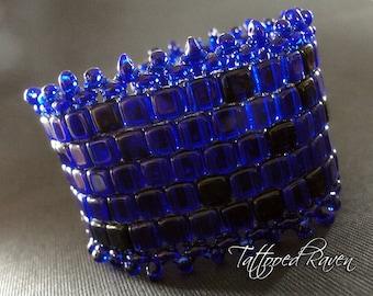 Ultimate Cobalt Blue Czech Tile Cuff Bracelet