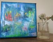Original abstract painting, vibrant, colorful wall art, gallery wall, aquatic bliss, wall art by Skye, light and dark series, skyelish