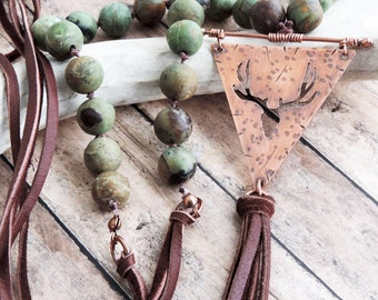 Deer Antler Beaded Necklace - Green Earthy Statement Necklace - Bohemian Jewelry - Brown Leather Tassel - Rustic Nature Inspired Style