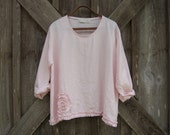 linen top with ruffle in light baby pink ready to ship