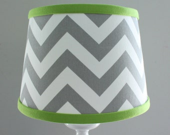 Small White Gray Chevron lamp shade with accent lime green.
