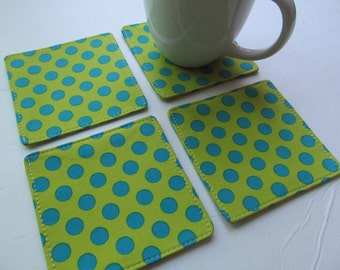 Set Of 4 Fabric Coasters/Turquoise Dots On Green