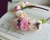 "Cute, Dolly, Mori kei, Lolita artificial flowers fantasy  hair band ""Spring  Kisses"""