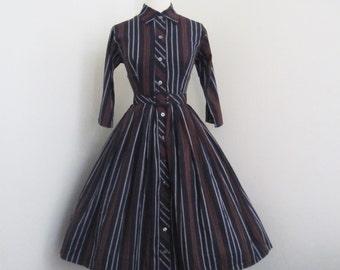 Everyday Autumn... vintage 1960's Jonathan Logan stripped cotton shirt waist dress