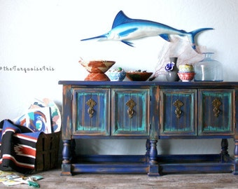 Rustic Boho Console / Sofa / Entry Table Hand Painted in Klein Blue, Persimmon and Patina Green