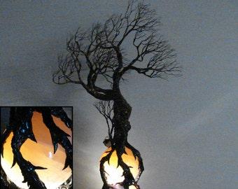 "Wire Tree Of Life sculpture, Ancient Tree Wind Spirit, Orange Selenite Sphere, Gemstone Lamp, Wood base Lamp, original art, home decor, 17"""
