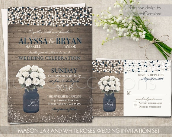 Rustic Printable Wedding Invitation Mason Jar By