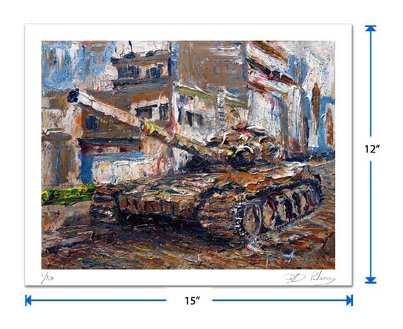 Original signed Print 12 by 15 in. / original signed giclee print of oil painting art modern abstract tank military