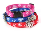 Christmas Cat Collar Blue Pink Red Snowflakes