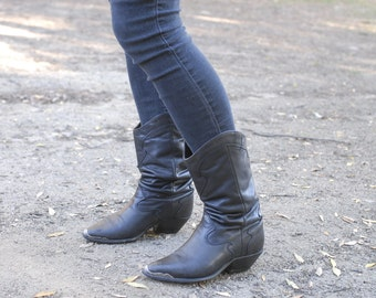 """Slouchy Black """"Code West"""" Cowboy Boots"""