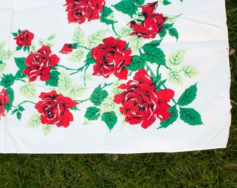 Small Vintage Tablecloth  50x44 Red Roses 1960's screen printed, floral, rectangle/oblong, red, green, white, flowers