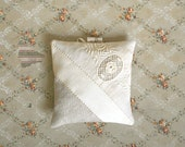 Lavender Sachet Pillow Antique Textiles Ecru Lace Ribbon on Natural Linen Home Decor French Chateau Paris Chic Handmade Mothers Day Gift