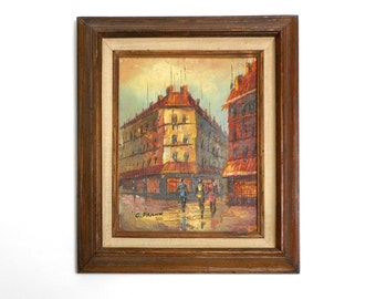 Vintage Painting on Wood Board in Frame Paris Street Scene 1970s Wall Decor signed C. Frank