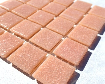 Dark Peach Vitreous Glass Mosaic Tiles Squares - 3/4 inch - 25 Tiles for Craft Projects and Decorations - Tan Beige Southwest Color