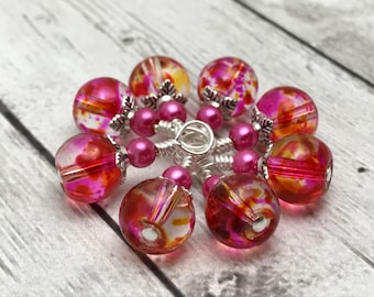 Snag Free Pink Stitch Markers for Small Knitting Needles- Gift for Knitters- Progress Keepers