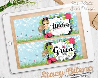 Cute Girl Logo - Etsy Shop Banner - Premade logo - business branding - Etsy Banner - Graphic Design - Branding Set