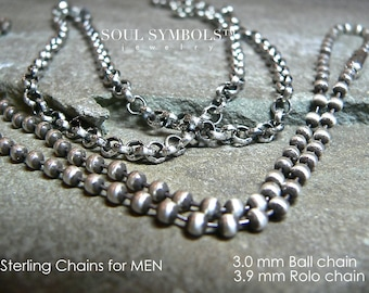 MEN's CHAINS, Sterling Silver, Thick Chain Necklaces For Men and Women,  CHOOSE Your Style  Length and Finish, Bulk Chain