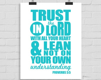 Trust in the Lord with all Your Heart, Christian Wall Print, Bible Verse Wall Art, Bible Typography, Scripture Wall Art, Proverbs 3:5