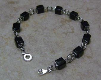 Men's Black Glass Square Bead & Chain Linked Silver Bracelet