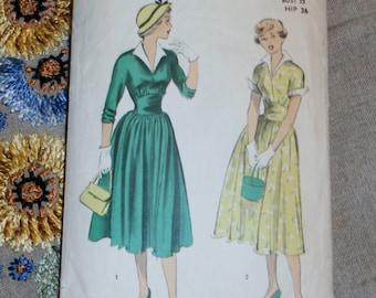 "Vintage 1950s Advance Pattern 5487 for Misses Dress Size 15, Bust 33"", Waist 27"", Hip 36"""