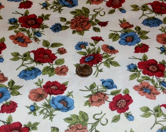 "Vintage 1940s Cotton Fabric Yardage, Pretty Floral Design, 35"" x 68"",  2 Available"