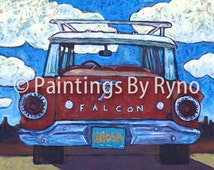 Red Falcon-  wagon, New Mexico, southwestern, print, clouds, desert, landscape, digital print, station wagon, paintingsbyryno