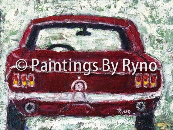 Red Mustang - Art Print, Print, Art, Wall Hanging, Home Decor, Car Art, Mustang, Muscle Car, Classic Car