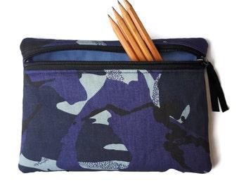 Pencil case / zipper pouch /cosmetic bag blue camouflage camo