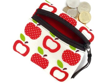 Apple coin change purse, zipped card pouch