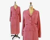 Vintage 40s Peplum Dress / 1940s Dusty Pink Rayon Crepe Draped Swag Day to Night Dress M