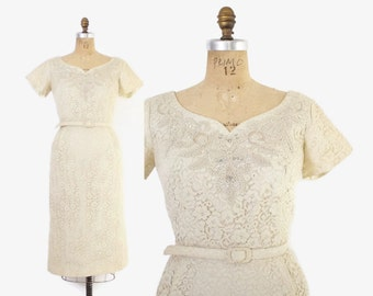 Vintage 60s DRESS / 1960s Ivory LACE Wiggle Dress with Rhinestones & Pearls and Original Belt L